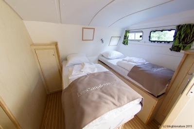 La seconde cabine, à l'arrière du bateau.