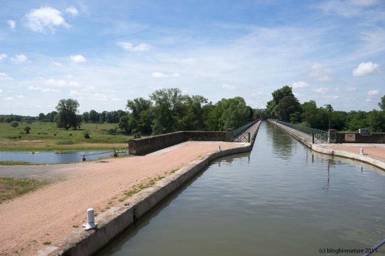 Le pont canal enjambant la Loire à la sortie de Digoin.